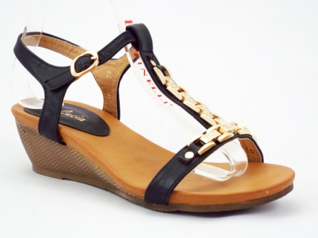 Sandale dama negre cu talpa ortopedica si accesoriu metalic auriu cu pietre tip swarovski