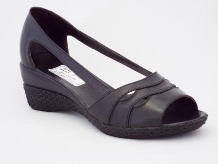 Sandale dama negre din piele naturala si talpa ortopedica