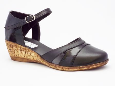 Sandale dama negre, piele naturala, talpa ortopedica tip pluta.