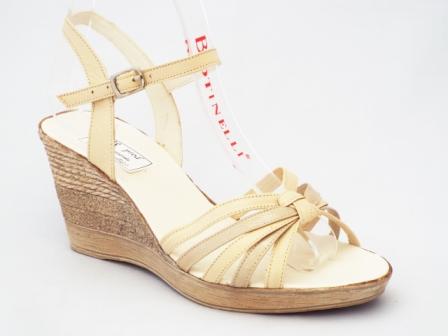 Sandale dama bej din piele naturala, talpa ortopedica