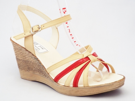 Sandale dama bej cu rosu , piele naturala, talpa ortopedica