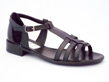 Sandale dama negre, piele naturala, talpa de inaltime mica