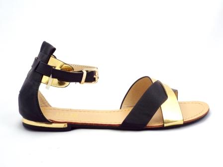 Sandale dama negre cu auriu