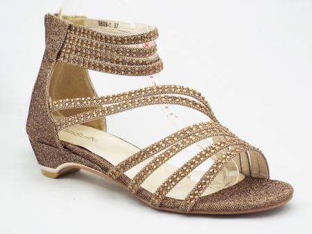 Sandale dama aurii, cu strasuri