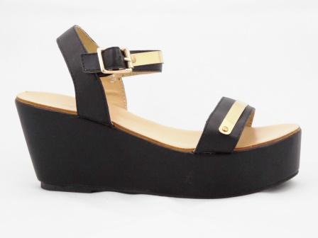 Sandale dama negre cu talpa ortopedica si accesorii metalice aurii