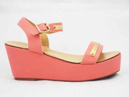 Sandale dama roz cu talpa ortopedica si accesorii metalice aurii