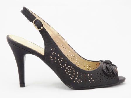 Sandale dama negre, elegante,cu toc de 10 cm, decupate fata-spate