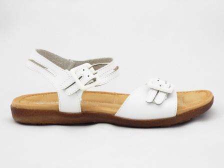 Sandale dama albe din piele naturala cu barete reglabile