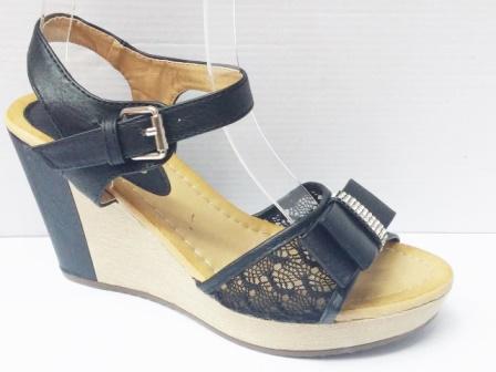 Sandale dama negre, talpa ortopedica si accesoriu cu strasuri in fata