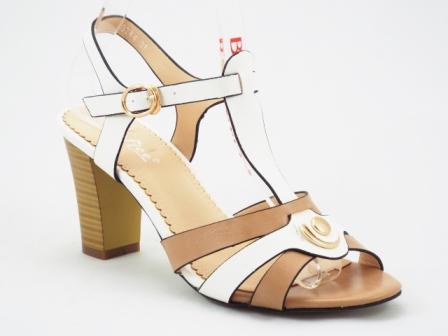 Sandale dama alb cu bej cu toc de 7 cm