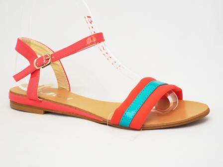 Sandale dama rosii cu verde