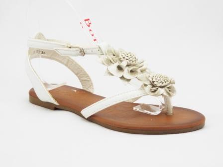 Sandale dama albe, accesoriu tip floare