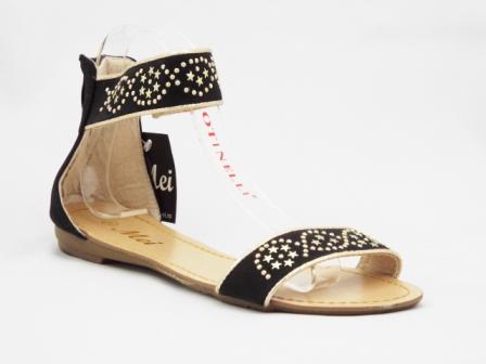 Sandale dama negre cu model din strasuri aurii