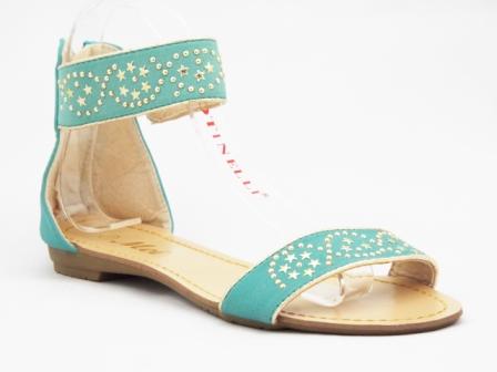 Sandale dama verzi cu model din strasuri aurii