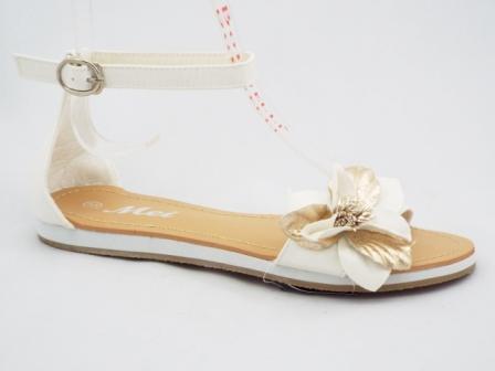 Sandale dama albe cu accesoriu tip floare
