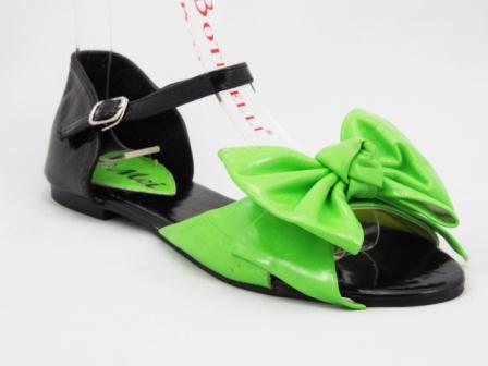 Sandale dama negre cu verde, accesoriu tip floare