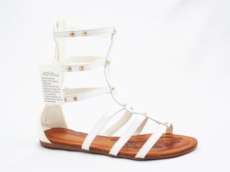 Sandale dama albe cu bretele
