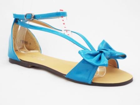 Sandale dama albastre, lacuite, cu accesoriu tip fundita