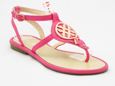 Sandale dama roz cu accesorii aurii