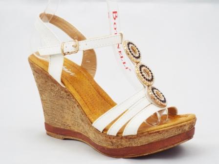 Sandale dama albe, ortopedice, cu accesoriu trei strasuri