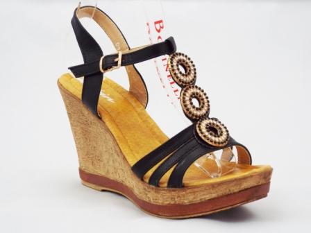 Sandale dama negre, ortopedice, cu accesoriu trei strasuri