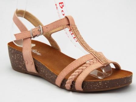 Sandale dama camel, ortopedice, cu accesoriu cu strasuri