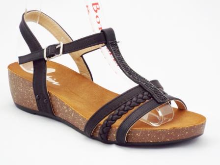 Sandale dama negre, ortopedice, cu accesoriu cu strasuri