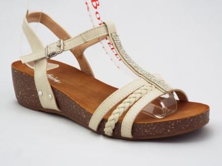 Sandale dama bej, ortopedice, cu accesoriu cu strasuri