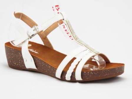Sandale dama albe, ortopedice, cu accesoriu cu strasuri