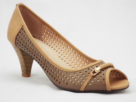 Sandale dama maro, toc de 5 cm, cu accesoriu metalic