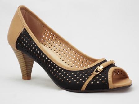 Sandale dama negre cu maro, toc de 5 cm, cu accesoriu metalic