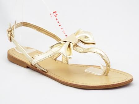 Sandale dama aurii, cu accesoriu tip funda