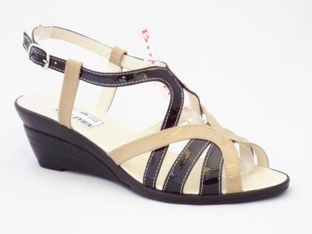 Sandale dama bej cu negru din piele naturala lacuita, talpa ortopedica