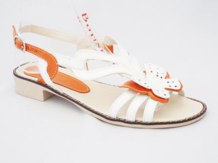 Sandale dama portocalii cu alb, piele naturala si accesoriu model floare