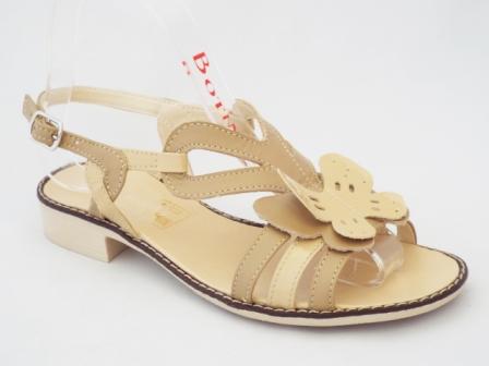 Sandale dama bej, piele naturala si accesoriu model floare