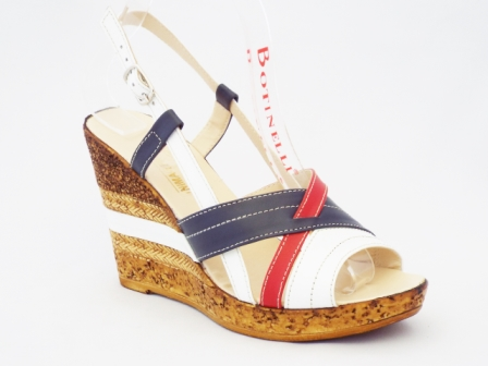 Sandale dama albe cu rosu si albastru, piele naturala si talpa ortopedica