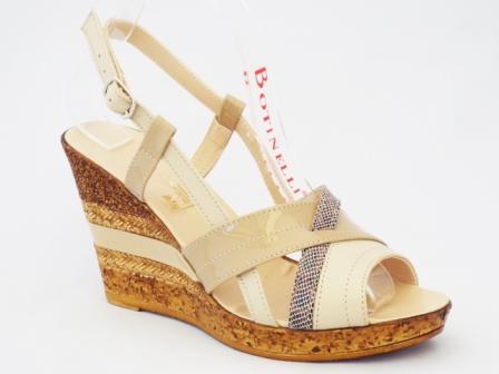 Sandale dama bej din piele naturala cu insertii din piele lacuita si piele croco, talpa ortopedica