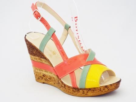 Sandale dama portocalii cu galben si verde, piele naturala si talpa ortopedica
