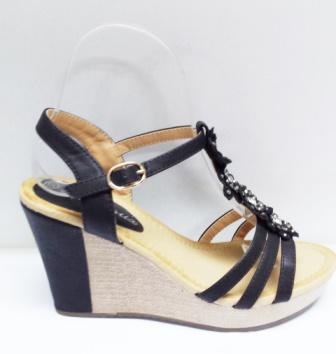 Sandale dama negre, ortopedice, cu accesorii argintii
