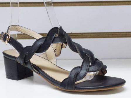 Sandale dama negre cu toc de 5 cm