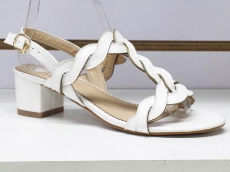 Sandale dama albe cu toc de 5 cm