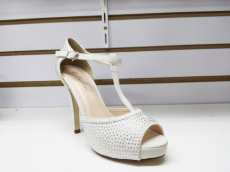 Sandale dama albe, cu toc de 9 cm, elegante