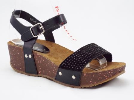 Sandale dama negre cu talpa ortopedica si accesorii tip strasuri in fata