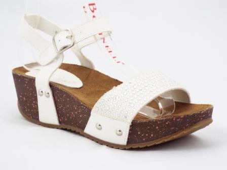Sandale dama albe cu talpa ortopedica si accesorii tip strasuri in fata