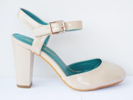 Sandale dama bej, moderne, cu toc de 8 cm, piele ecologica lacuita, calitate deosebita