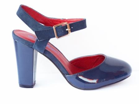 Sandale dama bleumarin, moderne, cu toc de 8 cm, piele ecologica lacuita, calitate deosebita