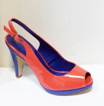 Sandale dama portocalii cu insertii de albastru, cu platforma si toc de 9 cm