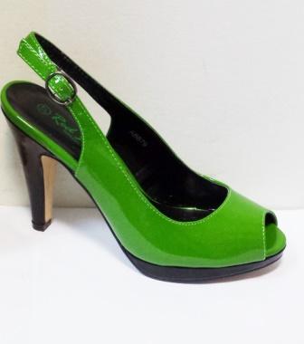 Sandale dama verzi cu insertii de negru, cu platforma si toc de 9 cm