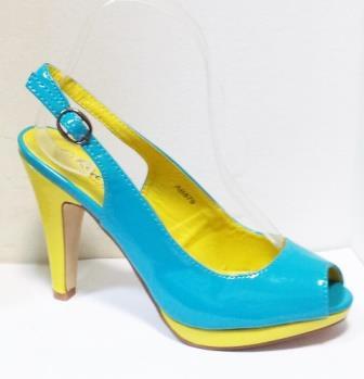 Sandale dama albastre cu insertii de galben, cu platforma si toc de 9 cm