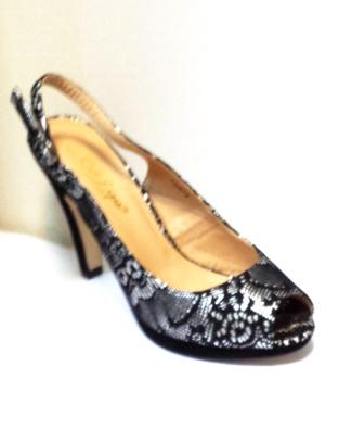 Sandale dama argintii cu insertii de negru, cu platforma si toc de 9 cm